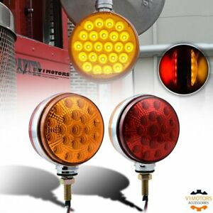 2x Round 42 Led Dual Face Truck Fender Pedestal Marker Light Turn Signal Parking