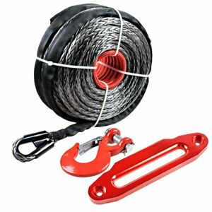 95 X 3 8 Synthetic Winch Rope 20500 Lb 10 Hawse Fairlead Clevis Hook Red