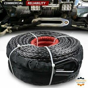 3 8 95 Synthetic Winch Rope 20 500lbs Black Cable Line Atv Utv Suv Sleeve