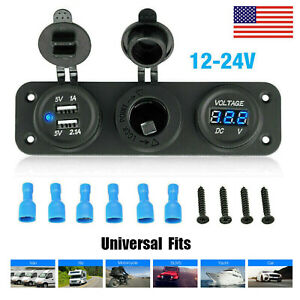 Dual Usb Port Socket Splitter Car Cigarette Lighter 12 24v Charger Power Adapter