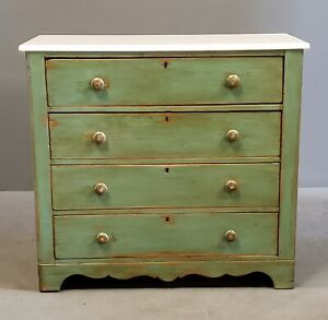Antique Rustic Green Pine Chest Of Drawers Dresser With Marble Top