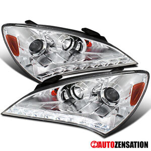 For 2010 2012 Hyundai Genesis Coupe Clear Projector Headlights W Led Strip 2011