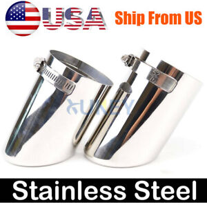 2x Universal Exhaust Tip Tail Pipe Chrome End Silver Stainless Steel 2 5 Inlet