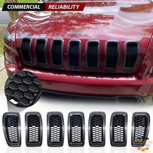 7pcs Black Front Bumper Grille Insert Honeycomb Mesh For Jeep Cherokee 2014 2018