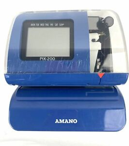 Amano Pix 200 Time Clock Time date Recorder W Power Supply No Key