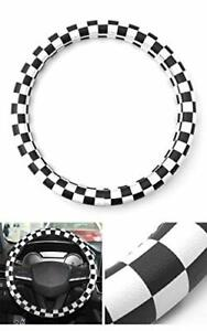 Jcw Checkered Uk Flag Leather Steering Wheel Cover 15 For Bmw Audi Mini Vw Mb