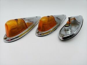 Vintage Dietz 2 18 Chrome Cab Fender Light Amber Lens Classic Truck Pickup Rod