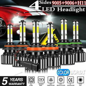 4 sides 9005 9006 H11 Led Combo Headlight High Low Beam Bulb White Fog Light Kit