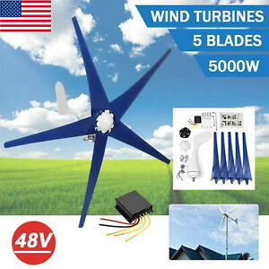 5000w 5 Blades Wind Turbine Generator Unit Dc 48v With Power Charge Controller