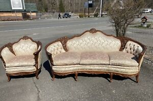 Antique 1920s French Sofa Chair Carved Victorian Birds Violin Silk Bombay Rose