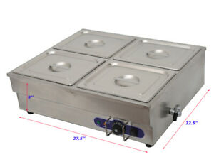 4 well Commercial Steamer Buffet Food Warmer 110v 1500w 1 2 Size Pan
