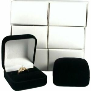 6 Black Flocked Square Ring Gift Boxes Jewelry Display