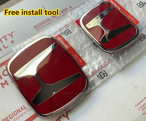 Set Of 2 Red H Front Grille Rear Type R Emblem For Honda Accord Coupe 2dr 03 07