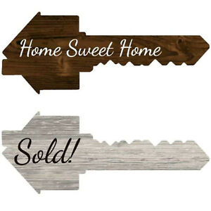 Real Estate Key Shaped Prop Sold Sign Double Sided Social Media Realtor Prop