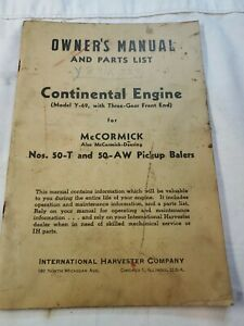 Mccormick Owners Manual Parts List Ih Continental Engine 50 t 50 aw Baler