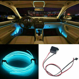 Ice Blue Led Car Interior Decorative Atmosphere Wire Strip Light Accessories Us