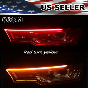 2x 60cm Led Drl Light Amber Sequential Flexible Turn Signal Strip For Headlights