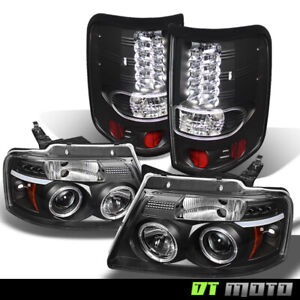 2004 2008 Ford F 150 Black Halo Led Projector Headlights led Tail Lights