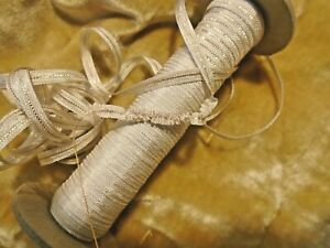 3 16 Off White Vintage Rayon Ribbon W Gold Thread To Gather By The Yard