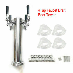 Four Faucet Stainless Steel Draft Beer Drink Tower Homebrew Bar For Kegerator Us