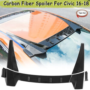 Carbon Fiber Type R Style Rear Roof Spoiler Wing For Honda Civic 4dr 2016 2017