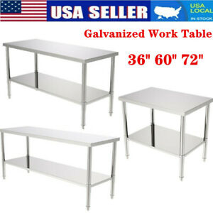 36 60 72 Stainless Steel Galvanized Work Table Commercial Restaurant Table Us