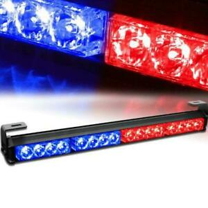 18 Red Blue 16led Emergency Traffic Advisor Flash Strobe Light Bar Warning 12v