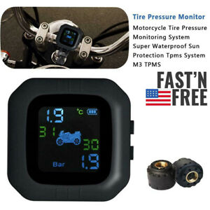 Wireless Motorcycle Tpms Tire Pressure Monitor System W 2 External Sensors B0s8