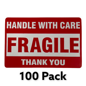 Fragile Handle With Care Thank You 2 x3 Stickers Warning Label 100 Pack