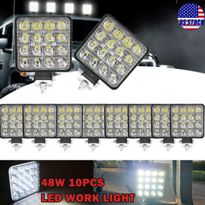 10x Square 48w Led Work Light Pods Flood Spot Lamp Car Truck Tractor Waterproof
