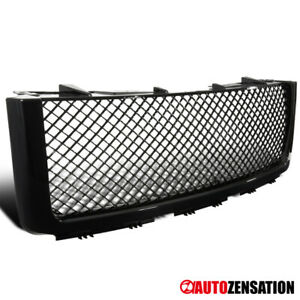 For 2007 2013 Gmc Sierra 1500 Light Duty Glossy Black Mesh Bumper Hood Grille