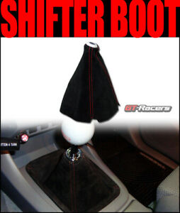 Universal Black Suede Red Stitch Shifter Shift Gear Boot Cover Manual auto G13