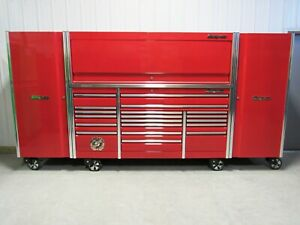 Snap On Candy Apple Red 84 Epiq Toolbox Stainless Top Hutch 2 X Side Lockers