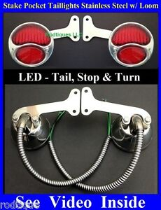Red Led Stainless Stake Pocket Taillights Loom Pickup Truck Hot Rod Chevy Gmc
