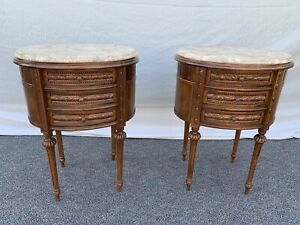 Vintage Antique Style Pr Of Carved Wood Marble Top End Side Tables Night Stands