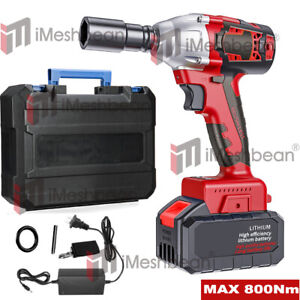 20v Cordless Impact Wrench 1 2 brushless Electric Wrench Driver 800nm W Battery
