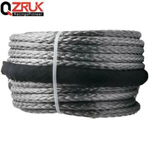 95ft X 3 8 Grey Synthetic Winch Rope 20500 Lbs Towing Cable For Atv Suv Utv