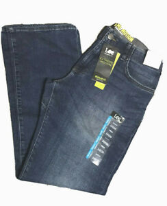 LEE EXTREME MOTION Jeans Regular Fit Bootcut Leg Stretch Flex Waist Echo Blue $27.95