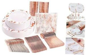 175pcs Marbling Disposable Plastic Plates And Silverware Set 25 Rose Gold