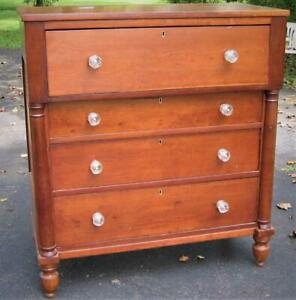 Antique Empire Cherry Chest With Sandwich Glass Knobs