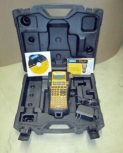 Dymo Rhino 5200 Label Maker W Rechargeable Battery Charger Hard Carrying Case