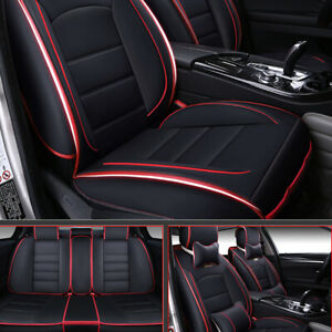 Deluxe 5 Seat Covers Full Set Waterproof Pu Leather For Auto Sedan Suv Truck