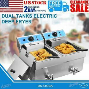Stainless Steel Double Cylinder Electric Fryer11l 11l French Fries Machine Grill