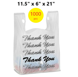 1000 Thank You T shirt Bags 11 5 X 6 X 21 White Plastic Shopping Bags Black