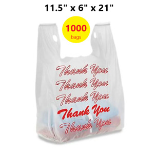 1000 Red Thank You T shirt Bags 11 5 X 6 X 21 White Plastic Shopping Bag