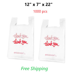 1000 12 X 7 X 22 Thank You T shirt Poly Bags White Plastic Shopping Bag
