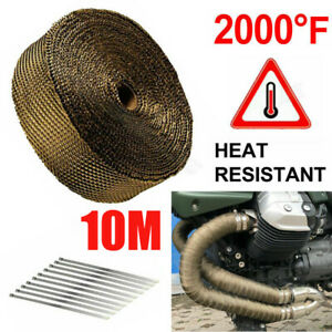 10m Exhaust Heat Wrap Roll Tape 50mm Titanium Gold 10 Stainless Ties