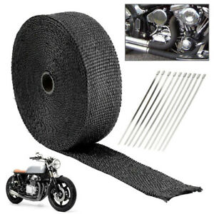 Titanium Header Exhaust Pipe Wrap Tape Black Heat Protection 15m 5mm 1 5mm P