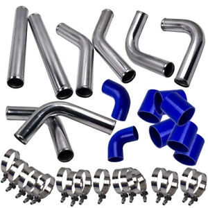 2 5 Universal Polished Turbo Intercooler Piping Kit Blue Couplers T bolt Clamps