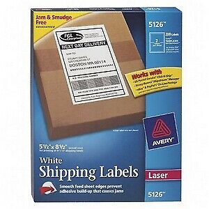 Avery Dennison White Shipping Labels 5 5 Inch X 8 5 Inch 200 Label Shipping Labe